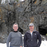 Sixty North CEO Ron Handford and New Discovery Mines Director Dr. David Webb at the A-Zone, May 2018